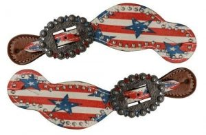 Showman Patriot Leather Spur Straps w/ Stars & Stripes Design!! NEW HORSE TACK!!