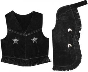 Showman Kid's Size Suede Leather Western Chaps & Vest Set