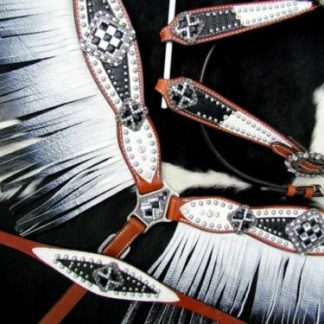 Bejeweled Black White Headstall & Fringe Breast Collar Reins Wither Strap NEW
