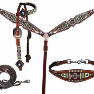 Showman Turquoise Green Cross Navajo Beaded Headstall Breast Collar Wither Strap