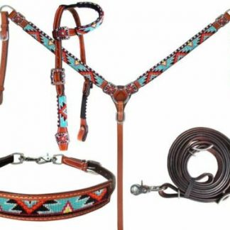 Bright Aztec Beaded One Ear Headstall & Breast Collar Wither Strap Rein NEW