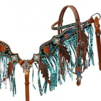 Showman Leather Bridle & Breast Collar Set w/ Painted Tooling & TEAL Fringe! NEW