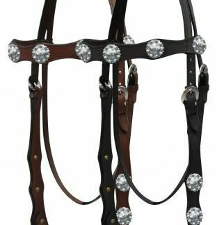 Western Leather Headstall w/ Silver Engraved Conchos & Reins