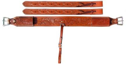 """3"""" wide Acorn Tooled Leather back cinch."""