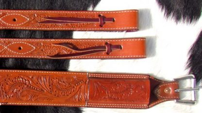 """3"""" wide Acorn Tooled Leather back cinch-1"""
