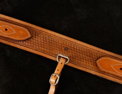 "3"" wide heavy duty leather backrigging basketweave tooling-1"