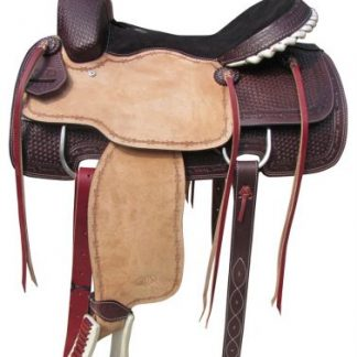 Roper Style Saddle Western Roping -Light +Dark Oil-1