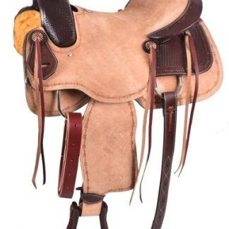 Roper Style Saddle Western Roping Roughout-Light +Dark Oil-1