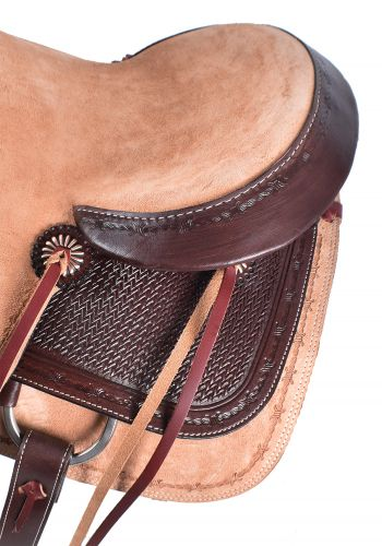 Roper Style Saddle Western Roping Roughout-Light +Dark Oil-3