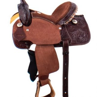 Youth Barrel Style Saddle -Dark with Roughout