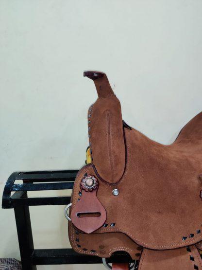 12 Youth Hard Seat Barrel Style Saddle - Rough Out Leather - Buckstitch Trim-10