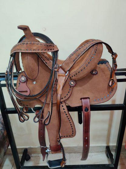 12 Youth Hard Seat Barrel Style Saddle - Rough Out Leather - Buckstitch Trim-12