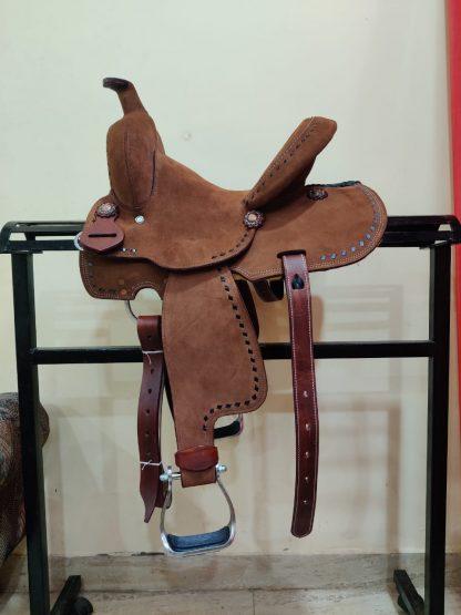 12 Youth Hard Seat Barrel Style Saddle - Rough Out Leather - Buckstitch Trim-3