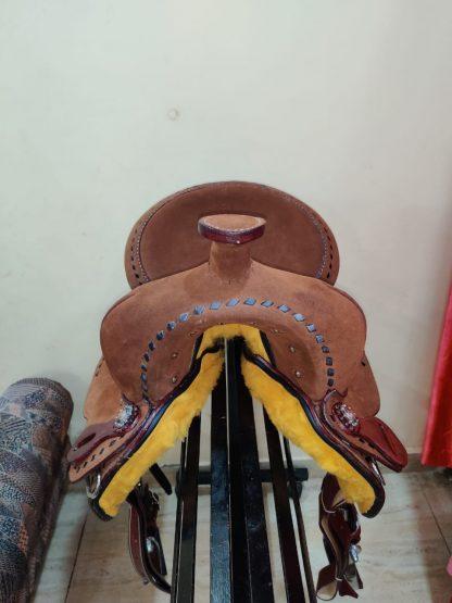 12 Youth Hard Seat Barrel Style Saddle - Rough Out Leather - Buckstitch Trim-4