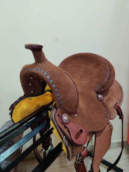 12 Youth Hard Seat Barrel Style Saddle - Rough Out Leather - Buckstitch Trim-5