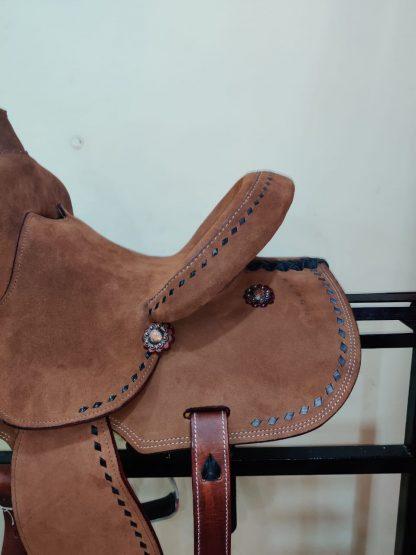 12 Youth Hard Seat Barrel Style Saddle - Rough Out Leather - Buckstitch Trim-8