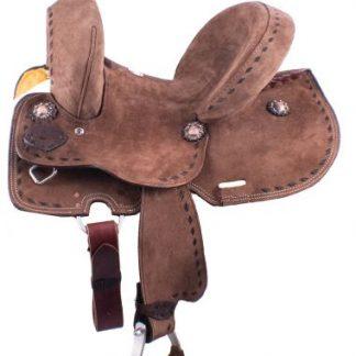 "12"" Youth Hard Seat Barrel Style Saddle - Rough Out Leather - Buckstitch Trim-2"