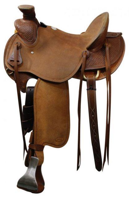Wade Old Timer Saddle - Roughout -Hard Seat - Basketweave Tooling