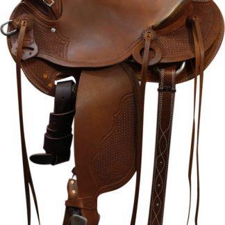 Saddle - Hard Seat - Basketweave Tooling - Rawhide Trim