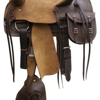 Roper Roping Rope Saddle - Roughout Hard Seat - Basketweave Tooled - Dark Oil - Bags and Tapederos