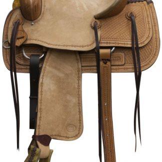 Roper Roping Rope Saddle - Roughout Hard Seat - Basketweave Tooled - Light Oil