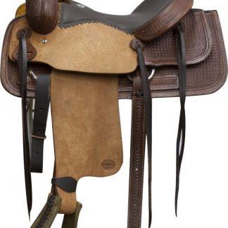 Roper Roping Rope Saddle - Roughout -Padded Seat - Dark Oil