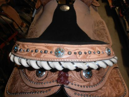 Barrel-Racing-Saddle-Turquoise-Stones-Conchos-3-Piece-Tack-Set-included-3