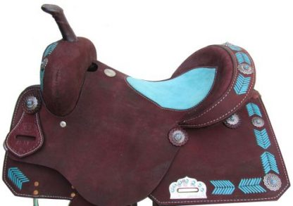 Barrel Style Saddle with turquoise leather laced arrow trim-1