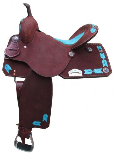 Barrel Style Saddle with turquoise leather laced arrow trim-2