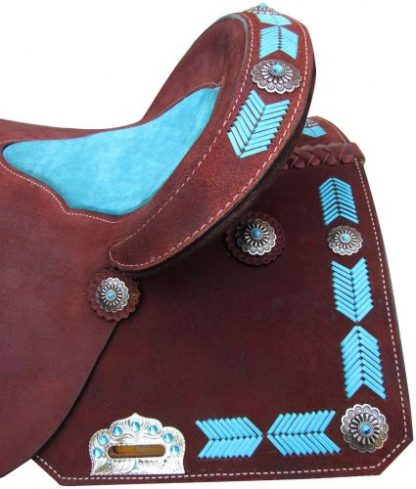 Barrel Style Saddle with turquoise leather laced arrow trim-3