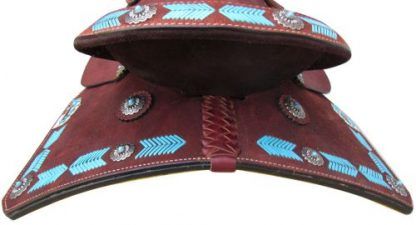 Barrel Style Saddle with turquoise leather laced arrow trim-4