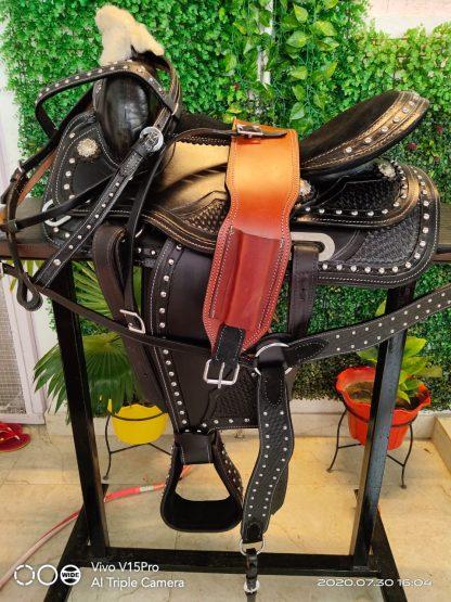 Roper Saddle + 3pc Tack Set Black