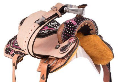 Bling Barrel Racing Saddle Pink Cross Crystals plus Tack Set-2