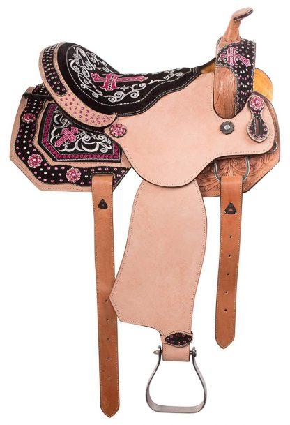 Bling Barrel Racing Saddle Pink Cross Crystals plus Tack Set-8