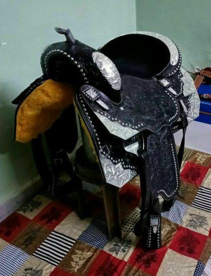 Western Show Saddle-BLACK-SILVER-5