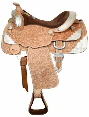 Western Show Saddle-Brown Suede Seat-Light Oil