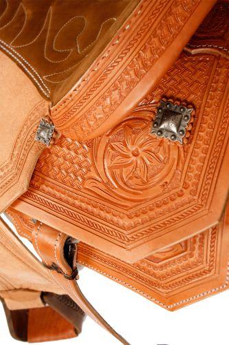 Western Roper Saddle Light Tan Basket Floral Tooling-1
