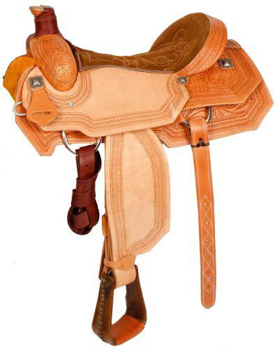 Western Roper Saddle Light Tan Basket Floral Tooling